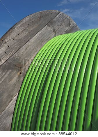 Green Fiber Optic Ribbon Cable on Timber Drum