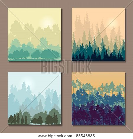 set of different landscapes with trees an rising sun