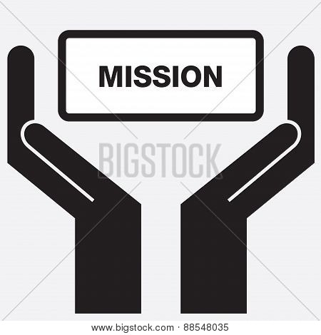 Hand showing free mission sign icon.