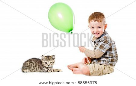 Happy boy and  kitten Scottish Straight