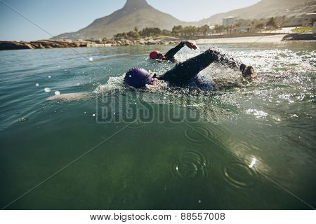 Triathlon swimmers churning up the water. Athletes practicing for triathletic race in lake. poster