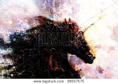 Horse, Black Unicorn In Space, Illustration Abstract Desert Colorbackground, Profile Portrai, Crackl