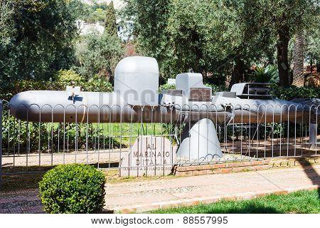 Old Submarine - Monument In Taormina Urban Park