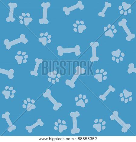 Paw Prints And Bones Seamless