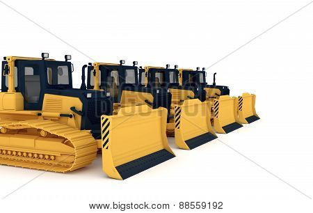 Yellow bulldozers.