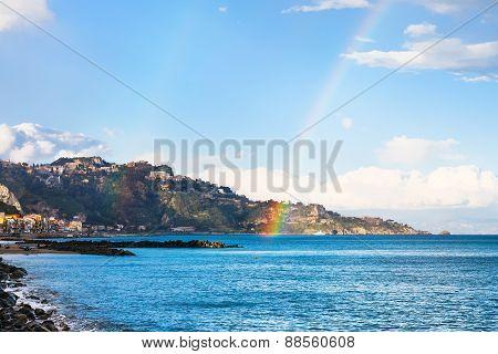 Giardini Naxos Resort And Rainbow In Ionian Sea