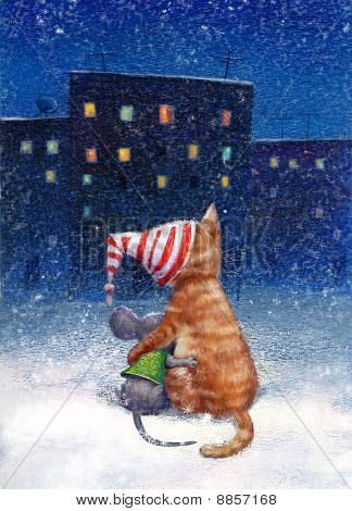 A cat and a mouse sit together looking at the city lights poster