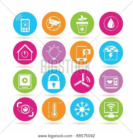 set of 16 home automation icons; cctv, smart pot, key, smart thermometer, smart microwave. poster