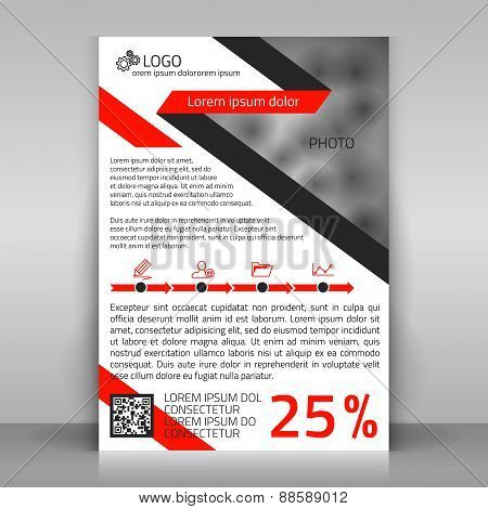 Business Flyer with Red and Gray Lines.