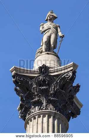 Admiral Nelson Statue On Nelson's Column In London