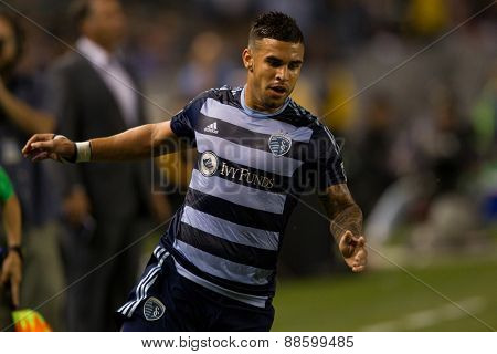 CARSON, CA. - APR 18: Domonic Dweyer in action during the L.A. Galaxy game against Sporting Kansas City on April 18, 2015 at the StubHub Center in Carson, California.
