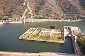 The Kesar Kyari Bagh garden in the Maota lake just below the Amber fort near Jaipur in Rajasthan India poster