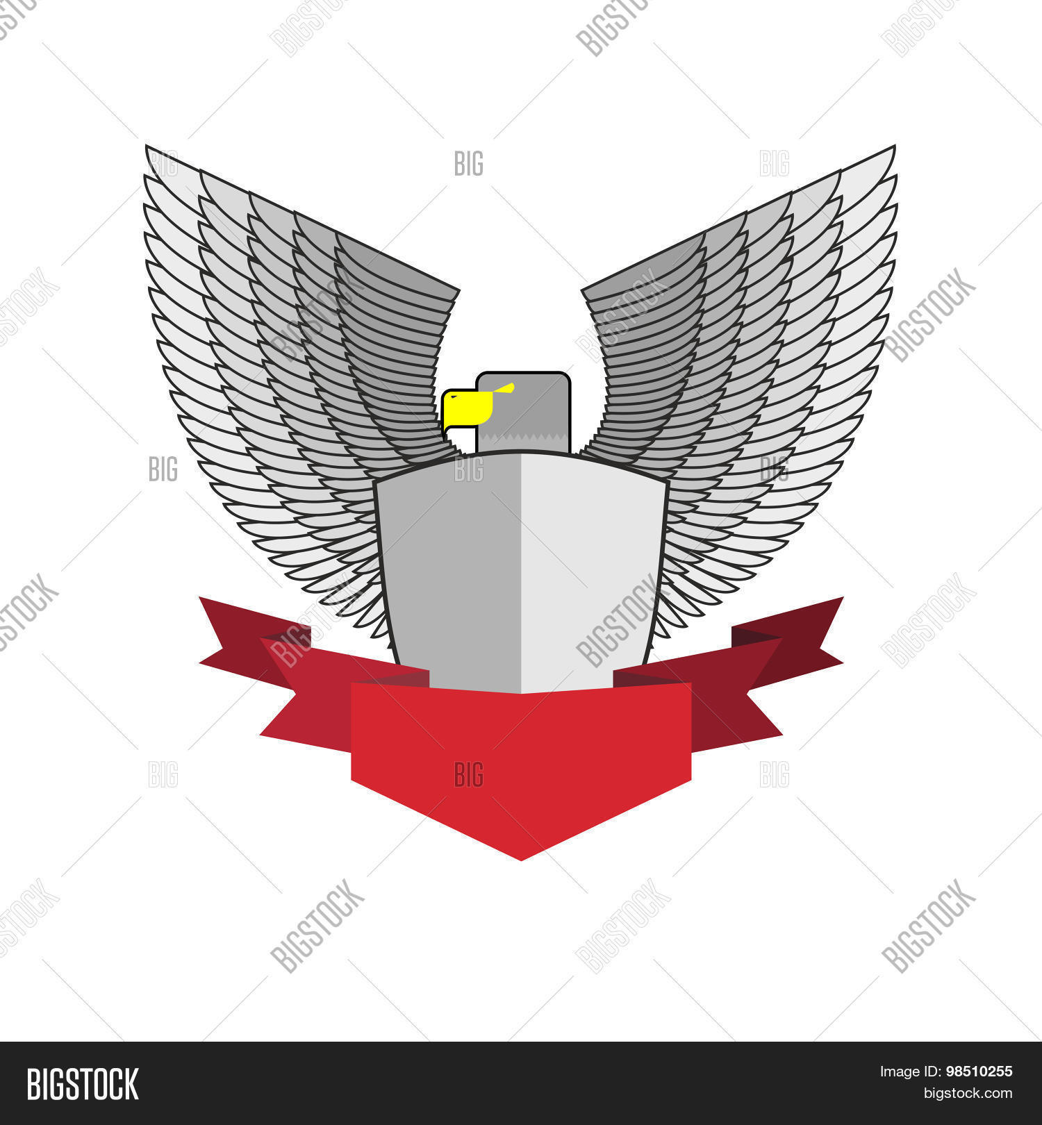 White Hawk Shield Red Vector & Photo (Free Trial) | Bigstock