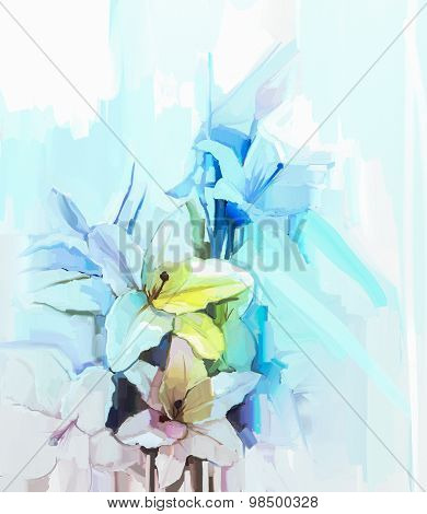 Oil Painting Still Life Of White Color Flowers With Soft Pink And Blue Background.
