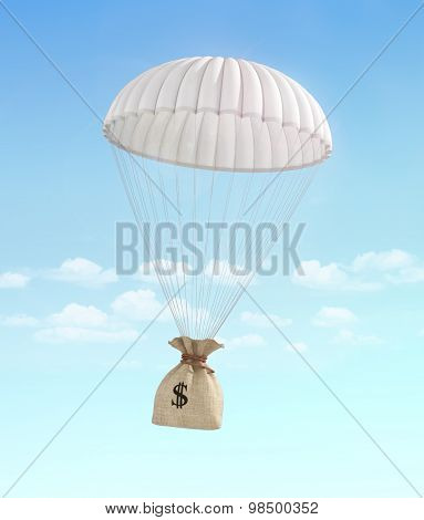 Concept of fast money. Money for help. Money transfer. Money bag falling on the parachute on a sky background. Payment. poster