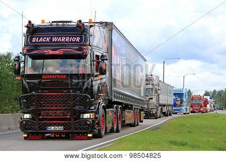 Scania Black Warrior In Truck Convoy