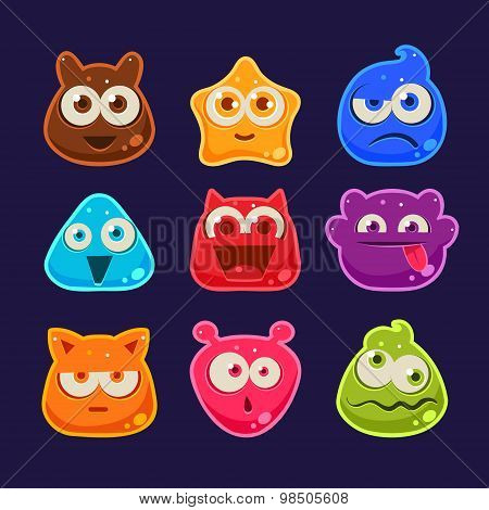 Cute jelly characters with different emotions
