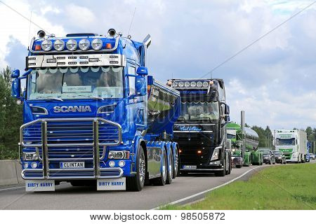 Show Truck Convoy With Scania R520 Clintan And Volvo Fh Phil Collins