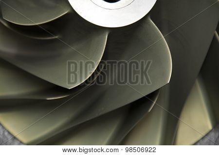 Close up Turbo-jet engine of the plane, Gas engine technology, Turbine technology for Machine