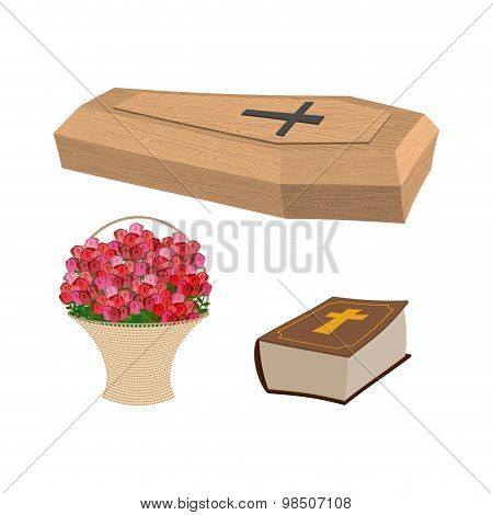 Set Funeral. Coffin And Bible. Basket Of Flowers For Burial Of Dead. Vector Illustration Funeral Acc