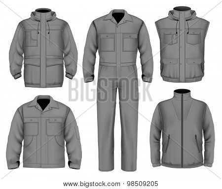 Collection of men work clothes. vector illustration.