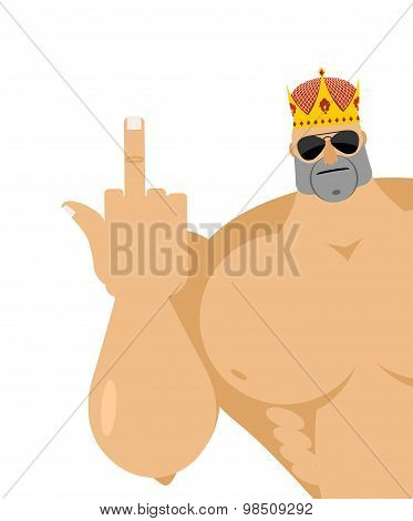 Healthy Guy Fuck Shows. Strong Male Finger Fuck Off. Bully In Crown And Dark Glasses. Vector Illustr