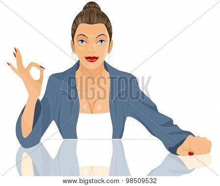 Businesswoman Okey Gesturing
