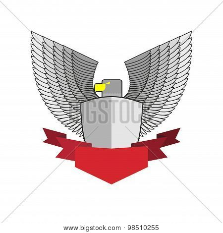 White Hawk With Shield And Red Ribbon. Bird And Shield Heraldic Symbol. Vector Emblem Angry Militant