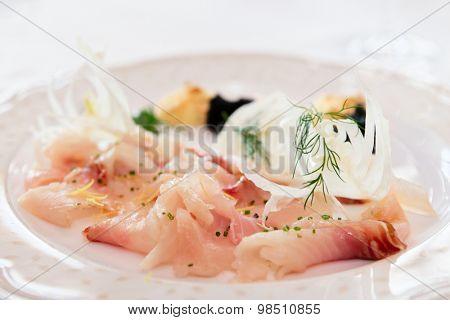 Cisco (vendace) fish fillet, sliced