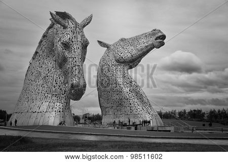 FALKIRK, SCOTLAND - JULY 27, 2015: The Kelpies, is 2 nice horse head sculptures which are a true feat of engineering in Scotland, Great Britain on july 27 2015.