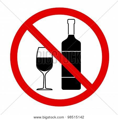 No drinking sign, no alcohol. Vector illustration