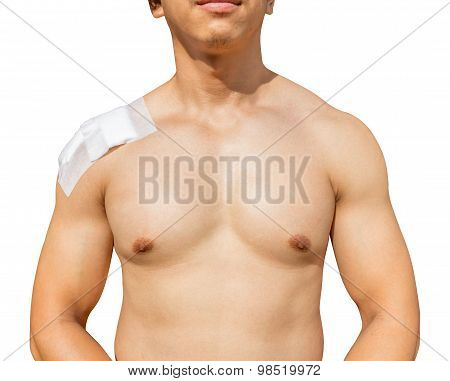 Man With Shoulder Pain Isolated On White Background With Clippingpath