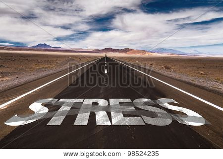 Stress written on desert road