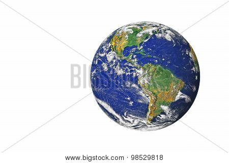 Blue Planet Earth From Space Showing North & South America, Usa. Global World Isolated On White Back