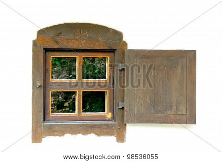 Old Wooden Window On A White Wall.