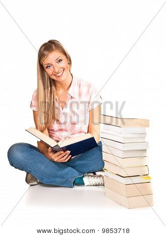 Woman with books isolated on white