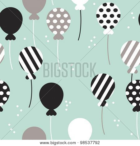 Seamless mint polka dots and chevron stripes birthday party festive balloon scandinavian style illustration background pattern in vector