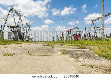 View of the components electrical substation - Electric power transmission poster