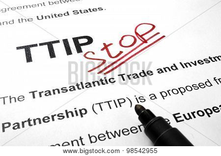 Words TTIP stop on a paper.