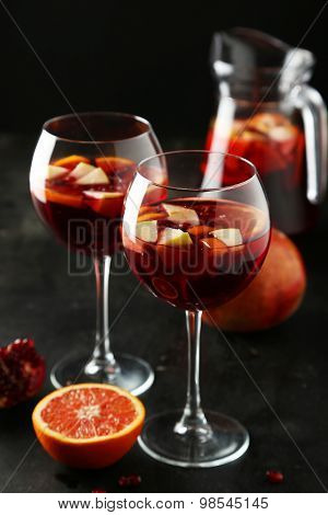 Glass Of Sandria On Black Background