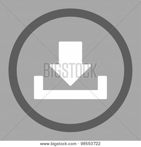 Download vector icon. This rounded flat symbol is drawn with dark gray and white colors on a silver background. poster