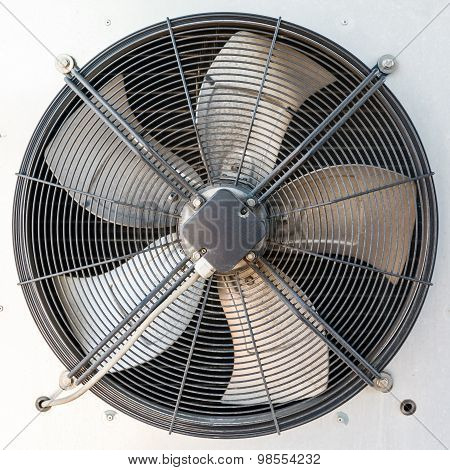 industrial air conditioner outdoor unit with two fans closeup poster