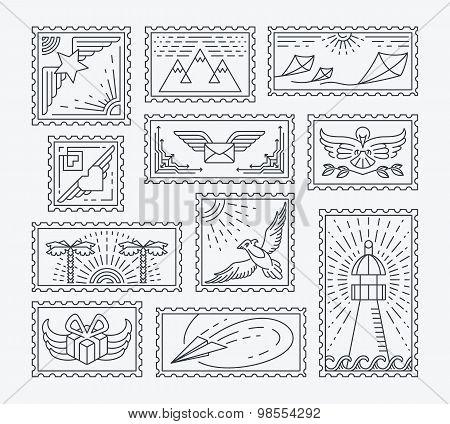 Set Of Line Postage Stamps