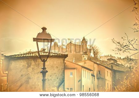 Artistic Painting Like Illustration Of A Late Autumn Afternoon In A Medieval Mediterranean Town