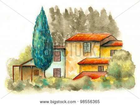 Rural landscape with a country house and some trees. Original watercolor.