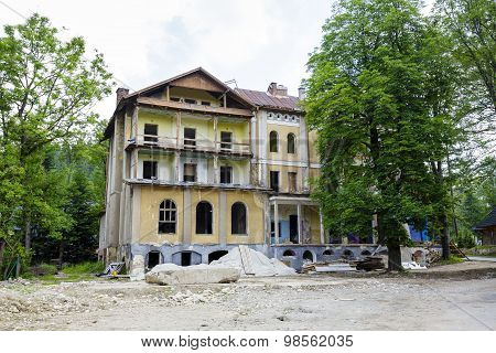 Ruined Walls Of The Old Building In Zakopane