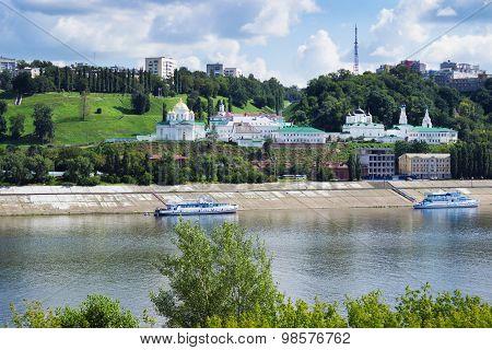 Church On The Banks Of The Oka River. N. Novgorod. Russia