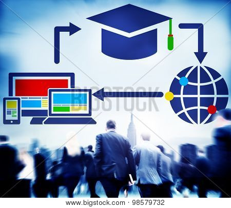 Education Learning E-learning Technology Global Concept
