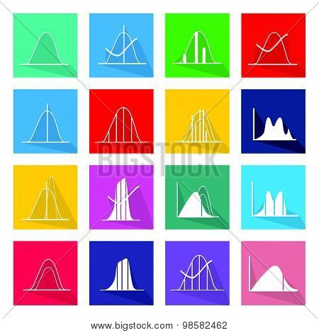 Collection Of 16 Normal Distribution Curve Icons