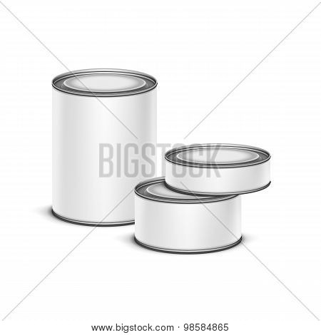 White tin box packaging container tea coffee isolated vector